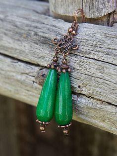 gabi111 / Smaragdový jadeit v medenom - náušnice