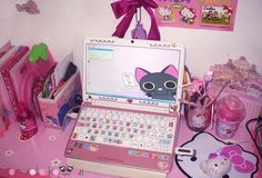 Her laptop and her cell phone are obviously pink and customized with a tons of kawaii stickers. Description from nonsolokawaii.com. I searched for this on bing.com/images