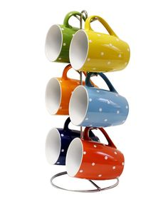 Look at this Polka Dot Mug & Stand Set on #zulily today!