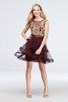 733f0b6f25 Mesh Fit-and-Flare Dress with Gold Applique Bodice Style 8145QK6B