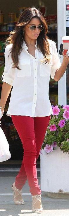 Who made  Eva Longoria's aviator sunglasses, nude sandals, and red skinny jeans