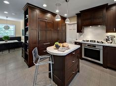 Kitchen Design, Adorable Modern Kitchen Design With Brown Dark Wood Kitchen Cabinets Also Contemporary Small Kitchen Island With White Concrete Countertop And Unique Acrylic Kitchen Stool Also Comely Twin Pendant Lamp: Dark Wood Kitchen with Good Quality Dark Wood Kitchen Cabinets, Wood Kitchen Island, Dark Wood Kitchens, Kitchen Island With Seating, Kitchen Islands, Wall Cabinets, Shaker Cabinets, Kitchen Furniture, Kitchen Interior