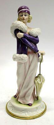 Superb Antique German or Austrian Art Deco Porcelain Lady with Umbrella Figure | eBay