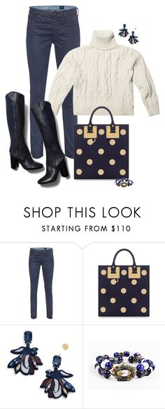 """""""Untitled #6939"""" by lisa-holt ❤ liked on Polyvore featuring AG Adriano Goldschmied, Sophie Hulme, Tory Burch and Miriam Haskell"""