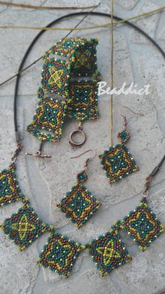 """Samarkand"" set of earrings, bracelet and necklace. Designed and beaded by Beaddict. Seed beads, peyote."