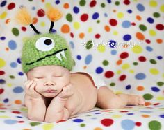 Green Monster Newborn Baby Hat Photography Prop by FashionTouch, $30.00