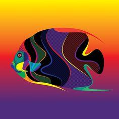 : Matt W Moore translates vectorfunk into Caribbean tropical fish - Digital Arts Sports Graphic Design, Graphic Design Company, Colorful Fish, Tropical Fish, Endangered Fish, Endangered Species, Pop Art, Caribbean Art, Fish Vector