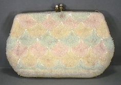 VINTAGE WALBORG - HAND MADE IN BELGIUM - BEADED EVENING BAG CLUTCH PURSE