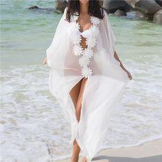Summer 2019 Women Honeymoon Dress Beach Cover Up Dress Lace Beach Tunic Chiffon Dress Loose White Long Dress