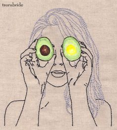 "tsurubride: "" Avocado of my Eye Featuring Kate Sweeney embroidery & hand painted leather applique on linen """