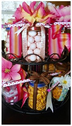 WISH I had seen this before V-day!!  Would've been a SUPER cute V-day favor for all the teachers!  In case you can't see the top, the jar is filled with candy, then wrapped with ribbon and topped w/ a flower AND a v-day pencil!!!  SUPER cute!