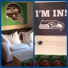 "Engineering prints from Office Depot! They're 36""x48"" and only $5.99 each! Normally they're black and white, but they didn't charge me extra for the color! Super thin paper so easy to hang for your Super Bowl party!  #Seahawks #SuperBowl"