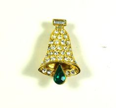 Vintage Rhinestone Christmas Bell Brooch with Articulated Teardrop Clapper