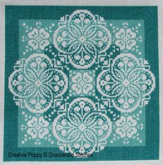 <b>Traces of Lace - Shades of Jade</b><br>cross stitch pattern<br>by <b>Gracewood Stitches</b>