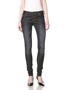 Jimmy Taverniti Women's Skinny Jean (Black Wax) cute with a simple with tee and black pumps