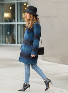 How to wear a coat day to night - Sydne Style  Day to Night in a Striped Turtleneck and Jeans