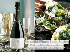 Green Butter Grilled Oysters with 2009 Les Filles Blanc de Blanc Grilled Oysters, Pecorino Cheese, Wine Recipes, Wines, Grilling, Butter, Vegetables, Green, Food