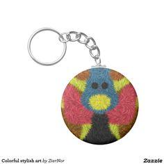 Colorful stylish art basic round button keychain
