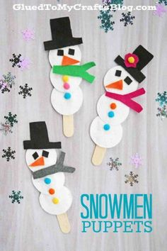 Cotton Pad Snowman Puppets - Kid Craft