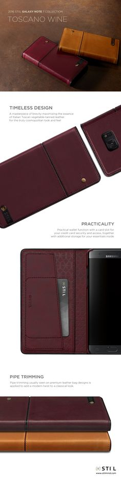 """TOSCANO WINE"" is a luxury leather #GalaxyNote7 case which takes its inspiration…"