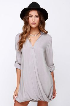 Twist and That Grey Dress at Lulus.com!…would be cute with leggings or skinny jeans