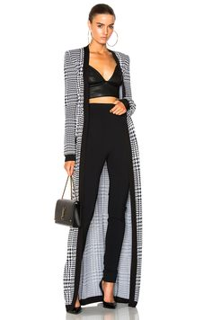 Balmain Long Jacquard Cardigan In Eoir Classy Winter Outfits, Chic Outfits, Trendy Outfits, Fashion Outfits, 60 Fashion, Autumn Fashion, Womens Fashion, Kaftan, Dress Over Pants