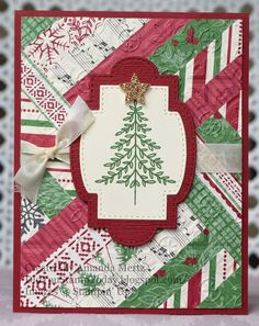 Herringbone Christmas - Stampin' Up! Perfectly Plaid (Did You Stamp Today? Stampin Up Christmas, Christmas Cards To Make, Plaid Christmas, Holiday Cards, Holiday Decor, Hand Stamped Cards, Paper Stars, Stampin Up Cards, Herringbone
