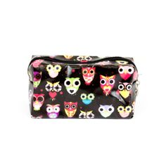 Small Owl Printed Cosmetic Bag