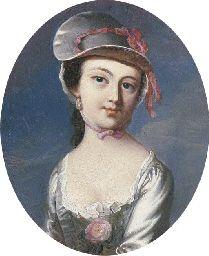 "Portrait of Mary Clarke, John Singleton Copley, late 1700s, p.446 (""or the John Singleton Copley -- you know, the oval portrait, the tiny one, girl in the bonnet?"")"