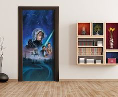 Star Wars Mural By WallandMore. Can be applied both on the wall and door. Star Wars Wallpaper, Wallpaper Murals, Most Popular Movies, Kids Wall Murals, Item Number, Kids Bedroom, Scene, Stars, Frame