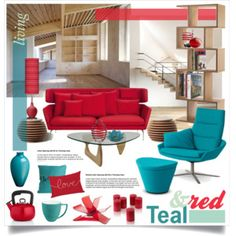 Loft Living in Teal & Red
