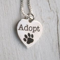 Adopt Paw Necklace - quality non fading stainless steel engraved heart charm has…