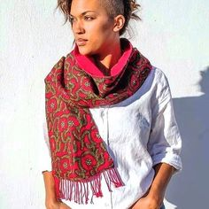 Obosomase in Red, our scarf which depicts the six-pointed star which is sacred to the Akan peoples; the intersection of the body and the soul, available at http://nanayawdesigns.com/