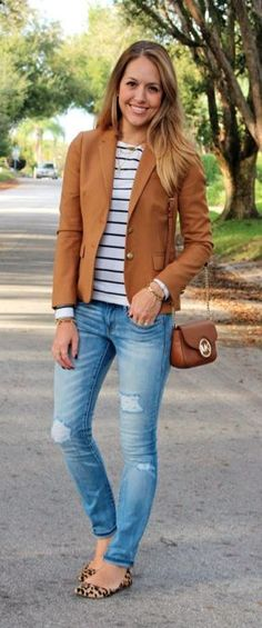 fashion over 40: Camel blazer, striped top, leopard flats - cute casual outfit for moms