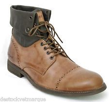 9768930eb40 Bottines boots KICKERS homme cuir et toile marron MARSY Camel Bottines  Kickers