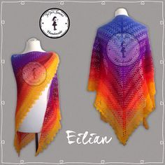 Eilian - free crochet shawl pattern with charts, in English and German by Jasmin Räsänen.
