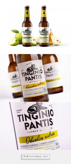 Tinginio Pantis Craft Cider packaging design by Koor - http://www.packagingoftheworld.com/2017/10/tinginio-pantis-craft-cider.html