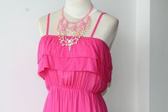 Hot Pink Summer Dress Vintage by TequilaCloset on Etsy, $30.00