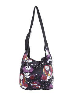 The Nightmare Before Christmas Jack and Sally Tattoo Hobo Bag,