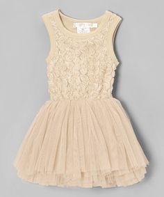 Champagne Rosette Tulle Tutu Dress -