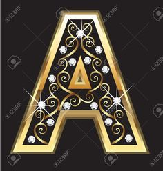 A Gold Letter With Swirly Ornaments Royalty Free Cliparts, Vectors, And Stock Illustration. Alphabet Letters Design, Alphabet Images, Letter Art, Alphabet Wallpaper, Name Wallpaper, Gold Letters, Monogram Letters, Ramzan Wallpaper, Stylish Alphabets