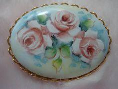 Vintage Hand Painted Porcelain Floral Brooch / Lovely Porcelain Brooch with Hand Painted Roses / Handpainted Floral Pin Brooch (22.00 USD) by snapitupvintage