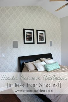 Master Bedroom Wallpaper [in less than 3 hours!] - Love Create Celebrate. The Easiest way to wallpaper your feature wall! With Graham & Brown wallpaper! #gold #ivory #Labyrinth