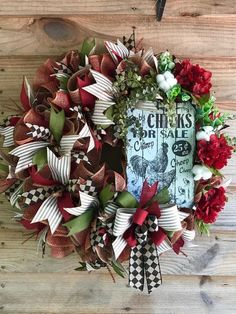 A beautiful farmhouse or rustic wreath perfect for greeting guests with a warm welcoming appeal! This wreath has plenty of coordinating ribbons and florals with cotton and a wooden sign. It measures approximately 24 inches in diameter and full. Country Farmhouse Decor, Rustic Decor, Farmhouse Door, Farmhouse Fabric, Flower Decorations, Christmas Decorations, Holiday Decorating, Country Wreaths, Western Wreaths