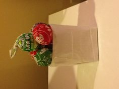 I made this! Duck tape cups that can hold pens, pencils, drinks (drink holders), and even suckers and candy!! Yum!