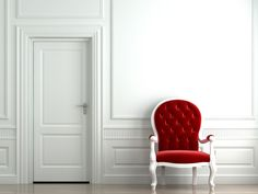 red chair in white environment