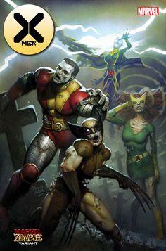 X-Men Marvel Zombies variant cover - Wolverine, Storm, Colossus and Marvel Girl by Ryan Brown * Marvel Comic Books, Comic Books Art, Book Art, Spiderman, Batman, Mark Bagley, Comic Art Community, New Warriors, Zombie Art
