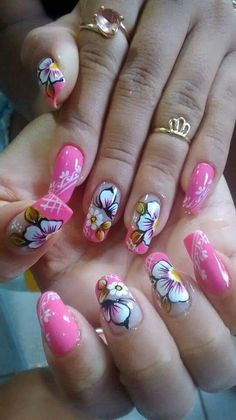 Uñas decoradas Simple Nail Art Designs, Toe Nail Designs, Cute Nails, Pretty Nails, Hair And Nails, My Nails, Fingernails Painted, Flower Nail Art, Fabulous Nails