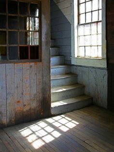 Let there be light ~ Stairs and window - Photo by Mark Kimball Moulton Sweet Home, Stairway To Heaven, Light And Shadow, Abandoned Places, Architecture, Belle Photo, Stairways, Windows And Doors, Old Houses