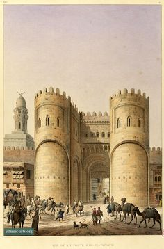 Bab al-Futuh, general view. Architectural sketches by Pascal Coste  Xavier Pascal Coste (26 November 1787 – 8 February 1879) French architect